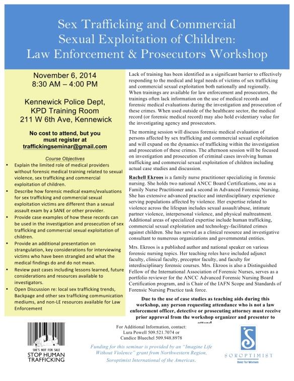 FINAL Law Enforcement & Prosecutor Human Trafficking Training Nov 6 2014 Rev101614