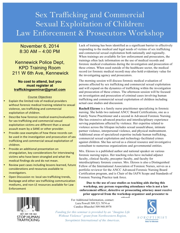 FINAL Law Enforcement & Prosecutor Human Trafficking Training Nov 6 2014 Rev101614